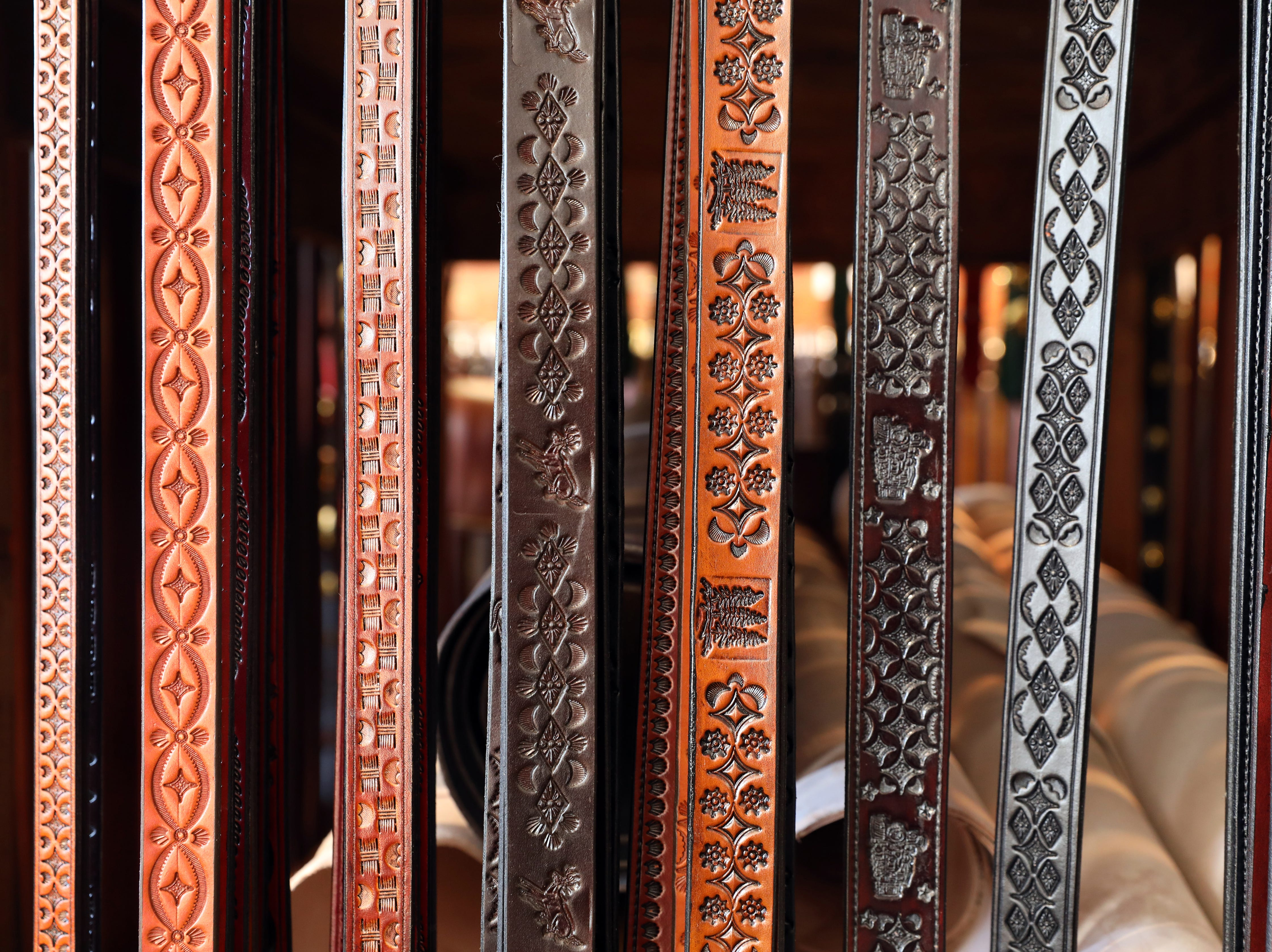 Handmade leather belts in River Ridge Leather Company in Roscoe Village.