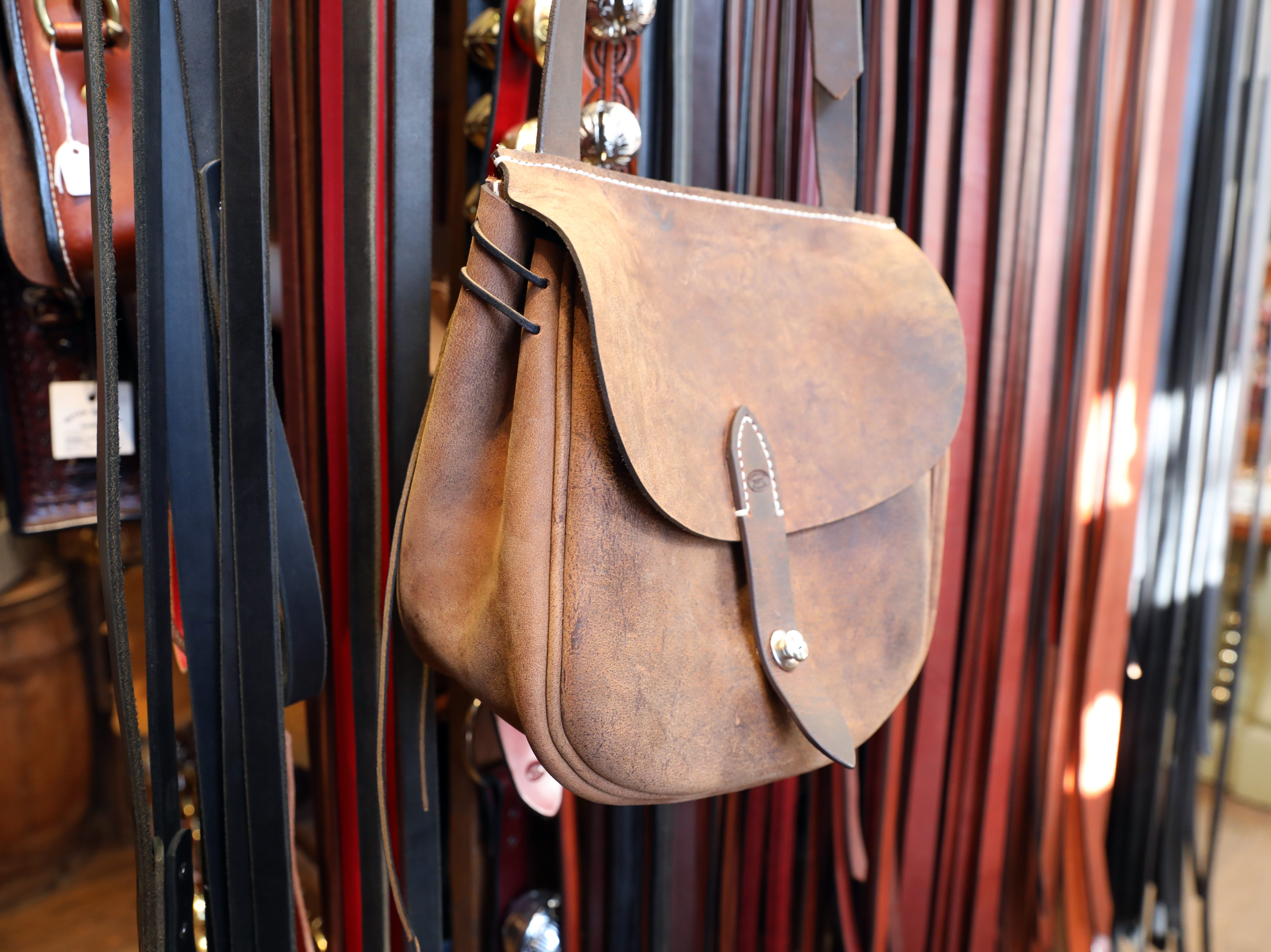 A hand made bag in River Ridge Leather Company in Roscoe Village.