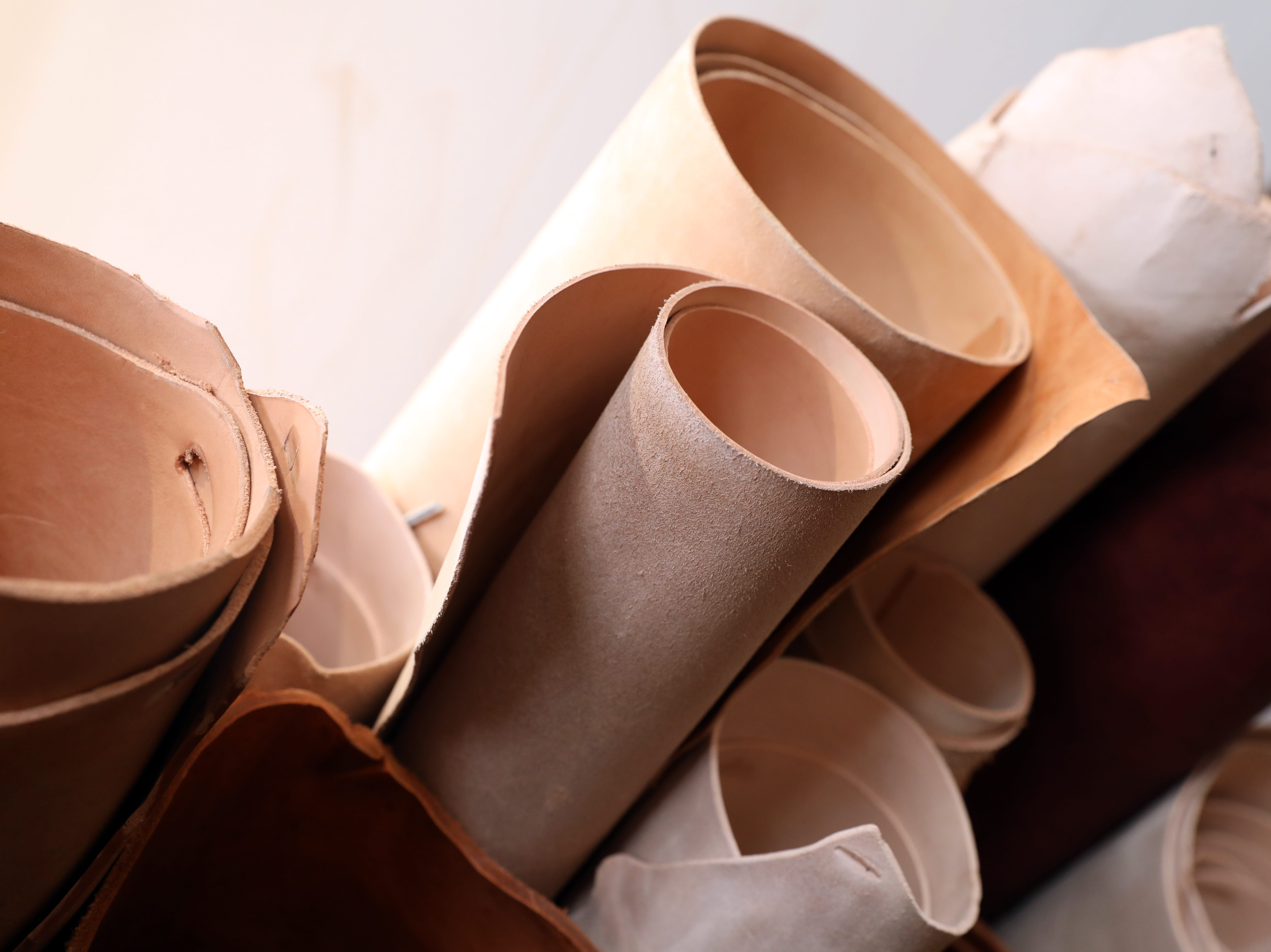 Rolls of leather at River Ridge Leather Company in Roscoe Village.