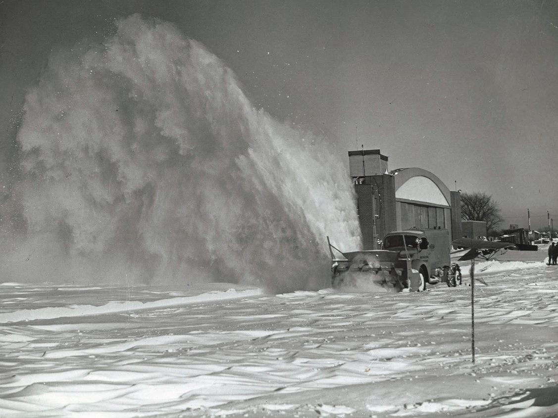 From 1942: Rotary plows clearing runways at the Des Moines airport send clouds of snow toward the skies. Weather observers at the airport said 18.8 inches of snow fell there during a January 1942 blizzard.