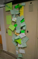 In this undated photo the locker of 13-year-old Corey Brown is seen decorated by his classmates at Miller Middle School in Marshalltown, Iowa.