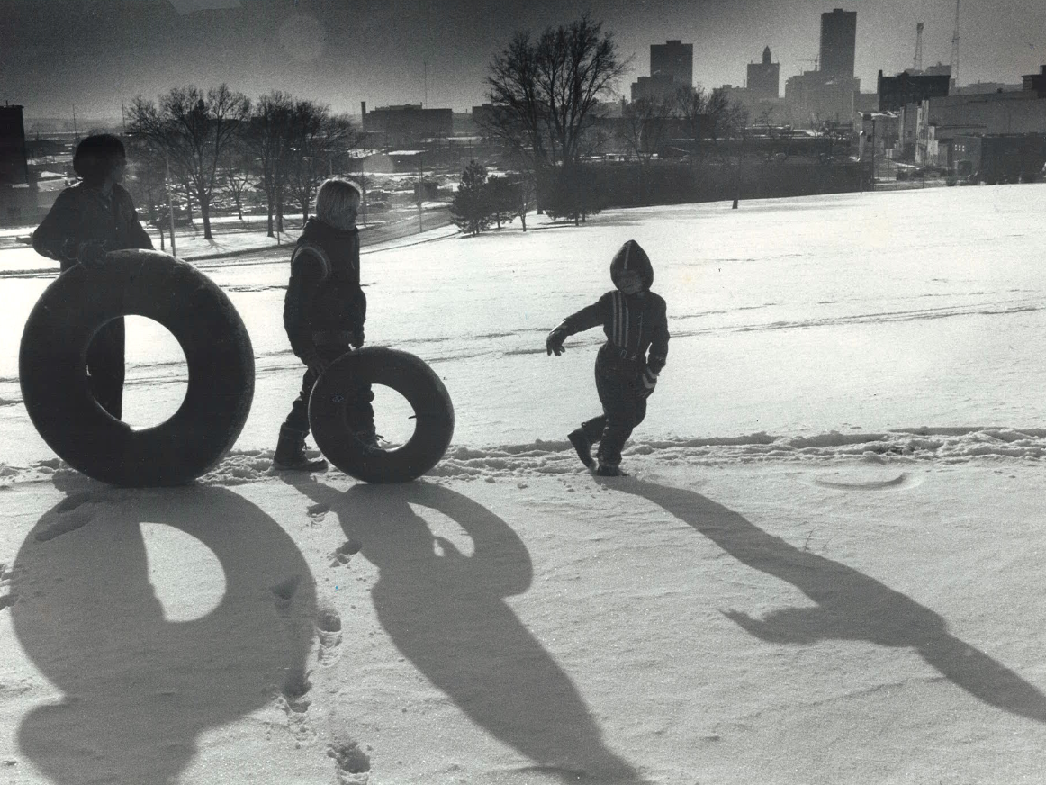 From 1980: Three boys trudge up Capitol Hill near the statehouse. From left, John Small, 16; Raymond Miller, 13; and Ronnie Miller, 7, all of Des Moines.