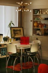 The 1950s-style themed dining room in a Des Moines Lustron home in 2006.