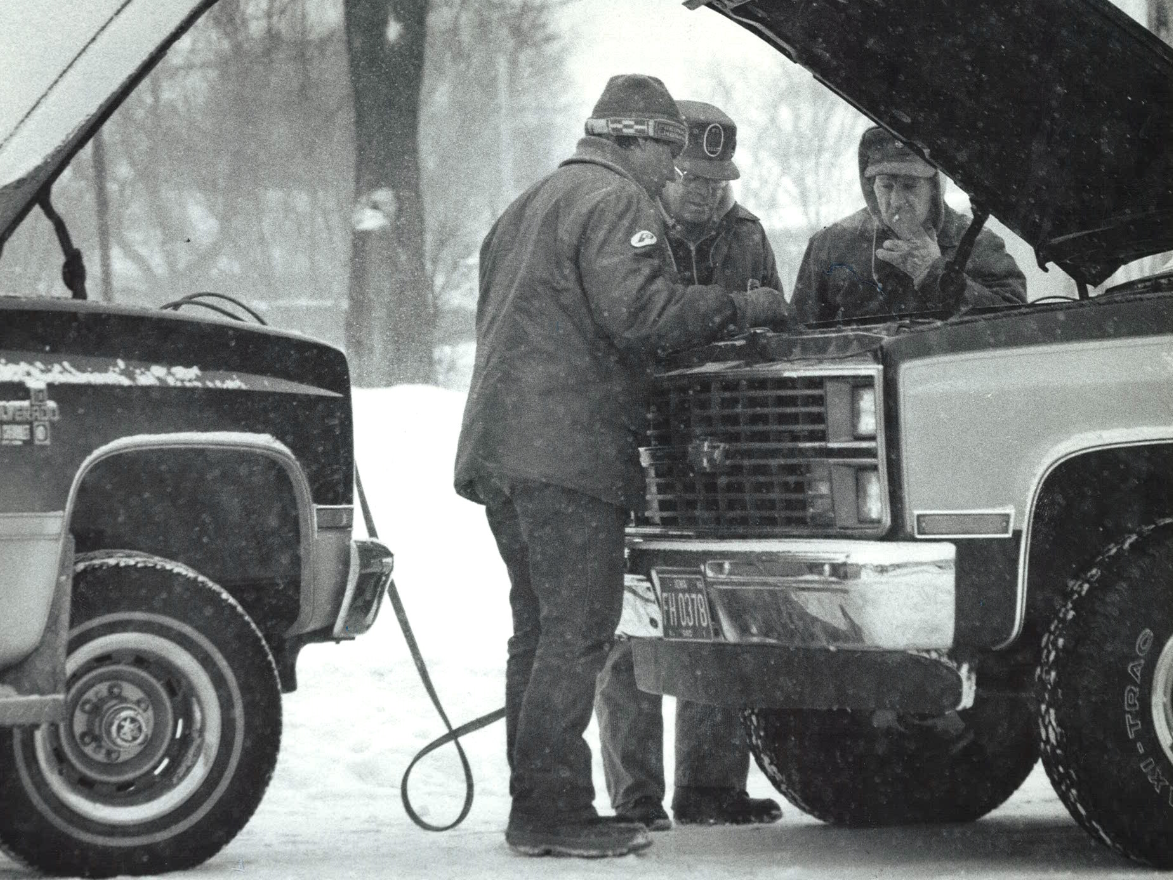 From 1985: Sam Finley of Lake City, center, jump-starts Robert Strief's truck on the main street of downtown Auburn. Strief, left, and passenger Bill Meyer, right, are from Sac City. The assistance was a warm gesture in an otherwise cold day as Iowa was in the middle of a tenacious cold snap.