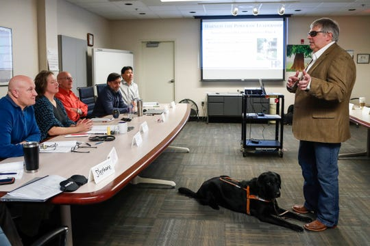 Richard (Buss) Brauer presents to a group during a Harness the Power of Leadership session at Mitsubishi Motors R&D Of America Ann Arbor Laboratory in Ann Arbor, Tuesday, Jan. 29, 2019.