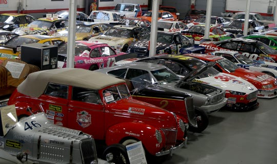 Some of the many NASCAR race cars on display inside the museum owned by Jack Roush at his office complex in Livonia, Michigan, on Wednesday, January 30, 2019.    .