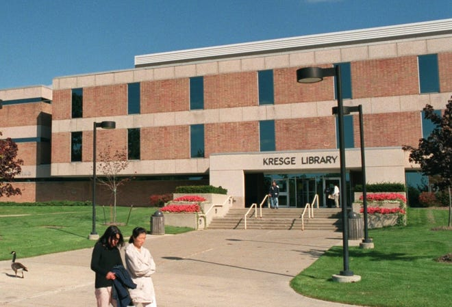 The Kresge Library on the campus of Oakland University in Rochester.`