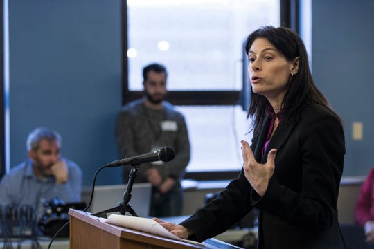 Attorney General Dana Nessel speaks during the Michigan Civil Rights Commission's meeting at the Cadillac Place in Detroit, Friday, Feb. 1, 2019.