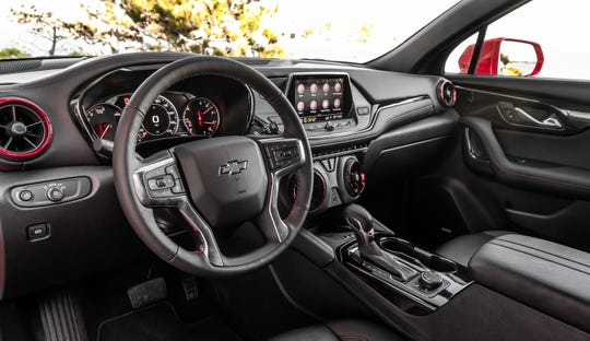 The 2019 Chevrolet Blazer RS interior features soft surfaces and a modern design.