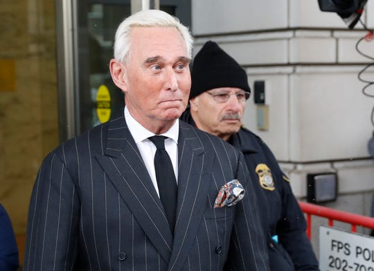 Former campaign adviser for President Donald Trump, Roger Stone, leaves federal court in Washington, Friday, Feb. 1, 2019.
