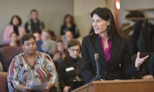 Michigan Attorney General Dana Nessel addresses Michigan Civil Rights commissioners at Cadillac Place in Detroit, Friday afternoon, February 1, 2019, after they formally asked her to interpret the Elliott Larsen Civi Rights Act to encompass discrimination because of gender identity and sexual orientation.