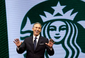 In this March 22, 2017 file photo, Starbucks CEO Howard Schultz speaks at the Starbucks annual shareholders meeting in Seattle.