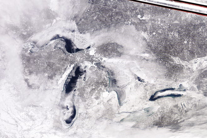 More than 90 percent of Lake Erie is covered in ice and nearly half of all the Great Lakes are covered on Feb. 1, 2019.
