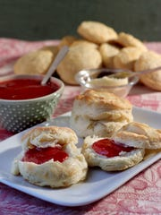 Homemade biscuits, strawberry jam and butter. (Hillary Levin/St. Louis Post-Dispatch/TNS)