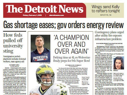The front page of the Detroit News on February 1, 2019.