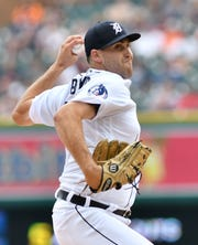 "Matthew Boyd wears a Tigers hat last season, when the ""D"" logo had been expanded."