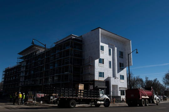 Construction continues on The Foundry, a two-block development in Downtown Loveland, on Thursday, Jan. 31, 2019, in Loveland, Colo.
