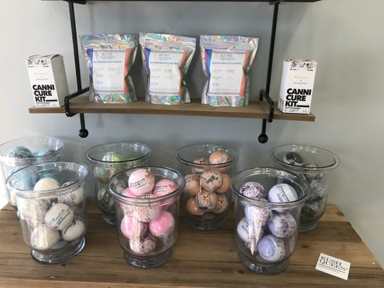 Happy Trails CBD stocks a variety of CBD-infused products including bath bombs and body scrubs.