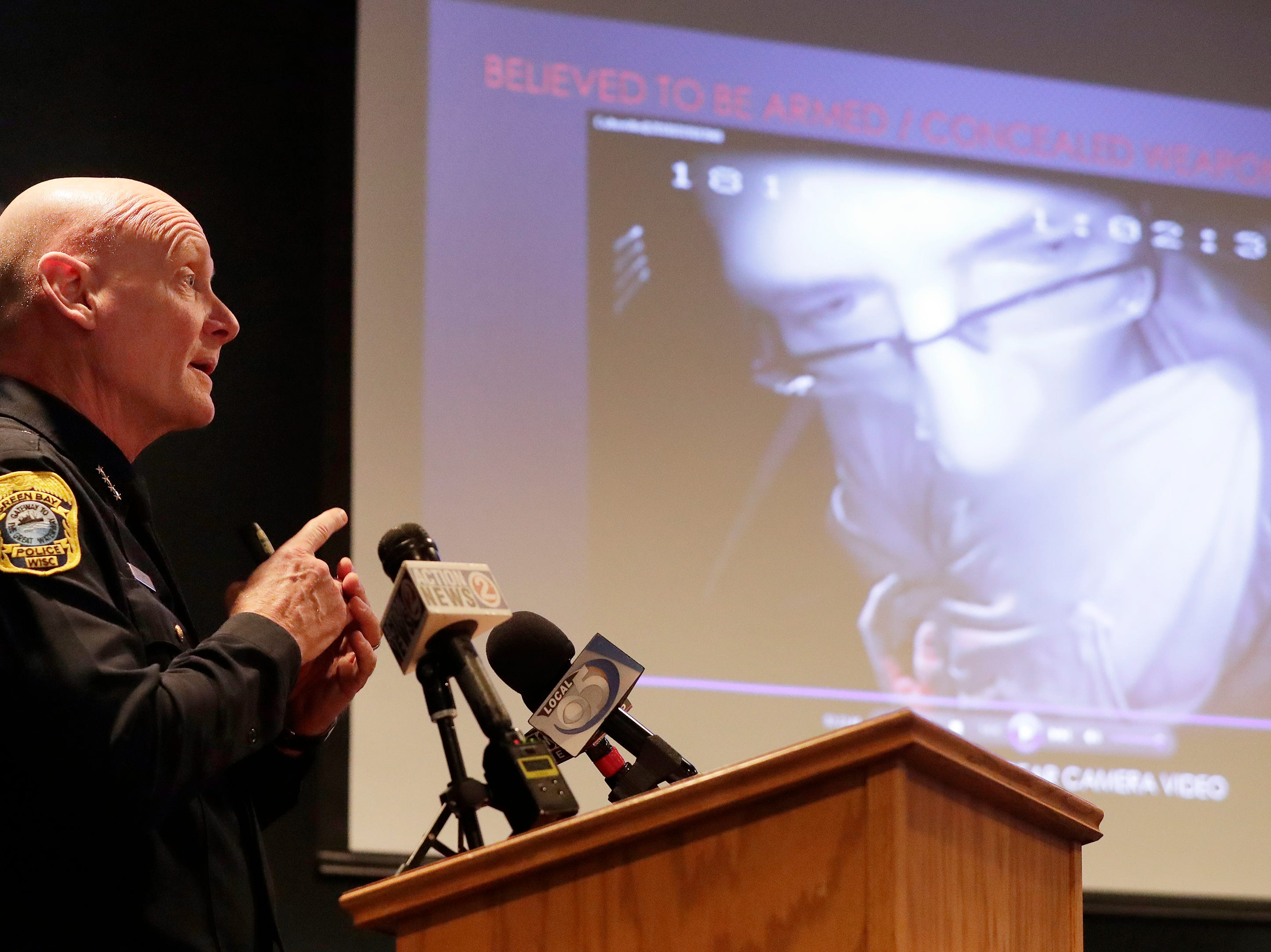 Green Bay Police Chief Andrew Smith speaks at a press conference about the fatal shooting of  Jonathon Tubby by Green Bay Police on Friday, February 1, 2019 in Green Bay, Wis.