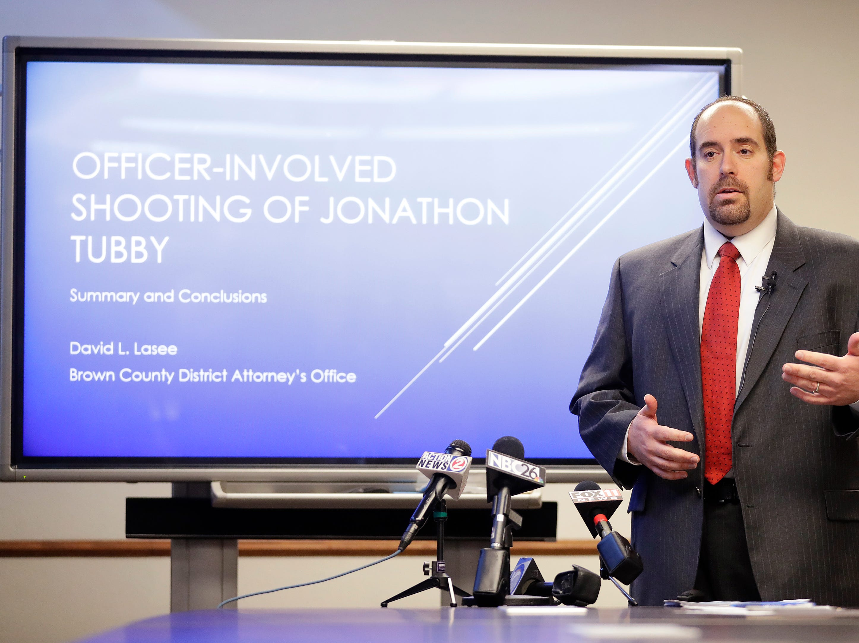 Brown County District Attorney David Lasee announces that no charges will be filed in the fatal shooting of  Jonathon Tubby by Green Bay Police in October at the Brown County Jail on Friday, February 1, 2019 in Green Bay, Wis.