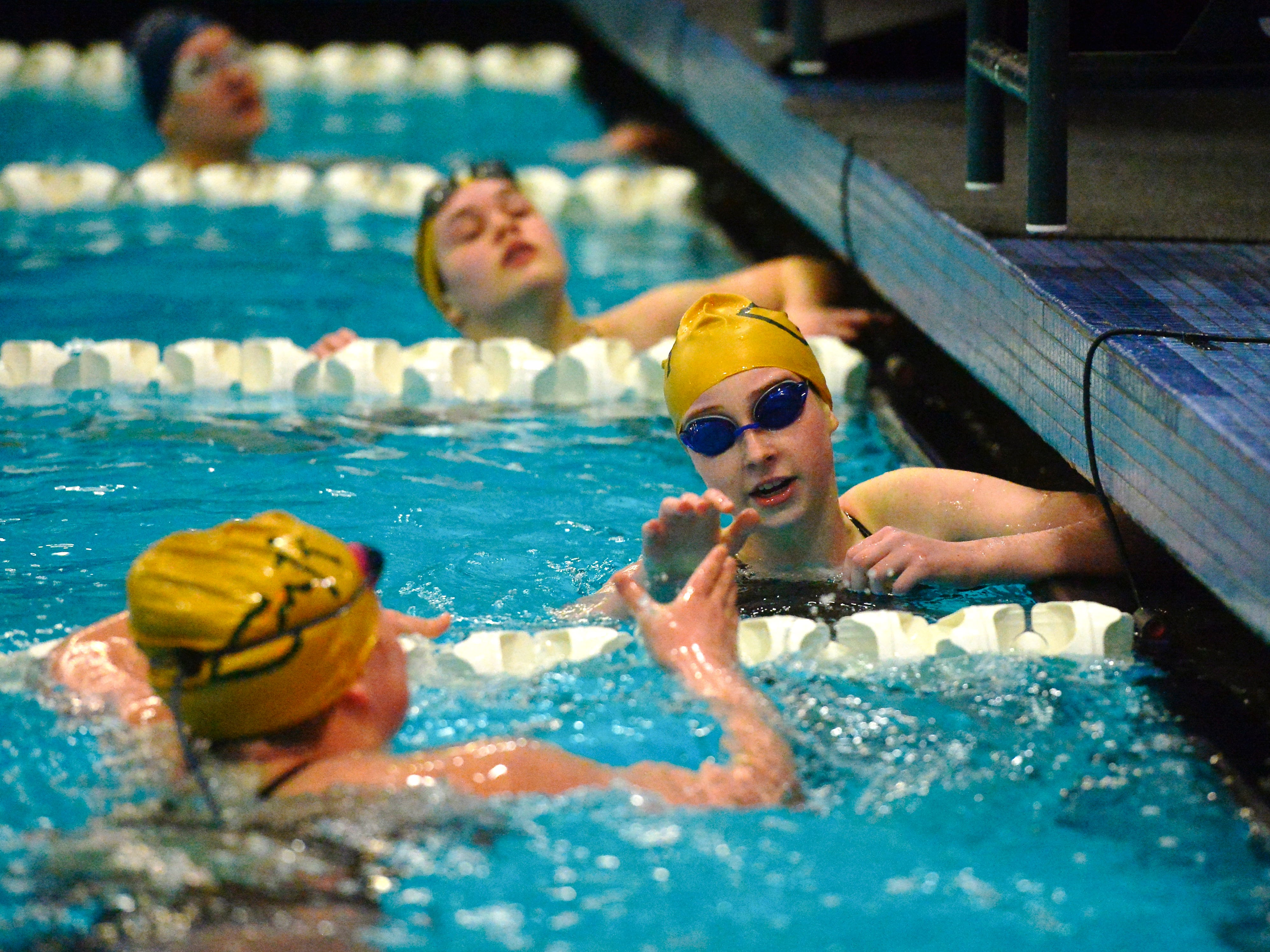 CMR's Jess Byrne took first in the fourth heat of the 50 yard freestyle during the crosstown swim meet at Great Falls High, Thursday evening.