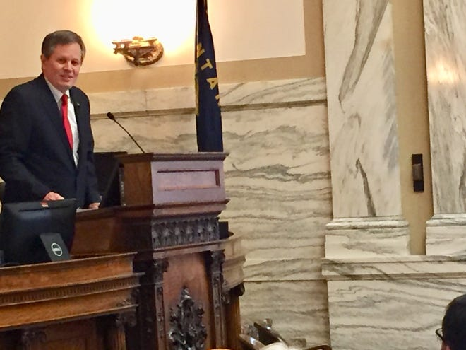 Sen. Steve Daines talks Friday to members of the state House of Representatives.