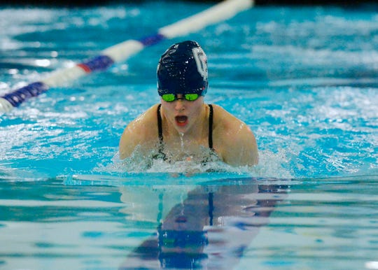Great Falls High's Baylee Furthmyre swims the 100 yard breaststroke during the crosstown swim meet, Thursday evening.
