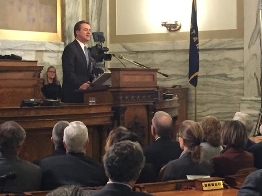 Montana Gov. Steve Bullock delivers the state of the state address in the House in Helena on Thursday.