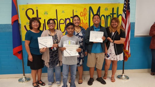 Guahan Academy Charter School's December Student of the Month awardees on Jan. 17. Pictured in the ront row: Russell Kanai. Back row: Teresita Cruz, Dean of High School Guahan Academy Charter School, Jocelyn Mendiola, Melissa Pillias, Eden Sudo and Nikki Java.