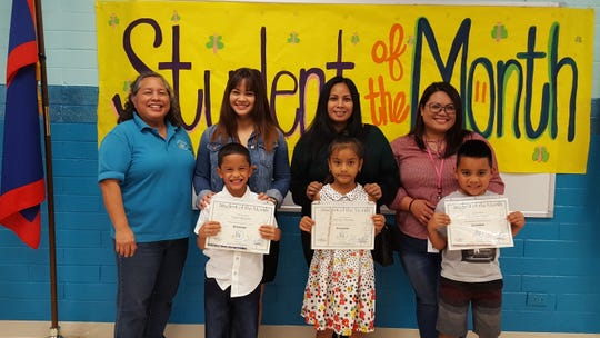 Guahan Academy Charter School's December Student of the Month awardees on Jan. 17. Pictured from front row: Tyson Quinata, Mesan Namelo and Nikodemus Ongesii. Back row: Mary Mafnas, Jamie Indalecio, Jessica Tamam and Jovina Munoz.