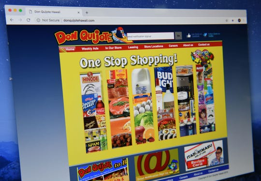An image of the website for the Don Quijote store in Hawaii as posted online on Friday, Feb. 1, 2019.