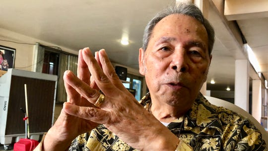 World War II survivor and Korean War veteran Jose Santos Torres, now 84, shares stories on Jan. 18, 2019, about his younger days attending school in Agat under CHamoru, Japanese and American teachers.