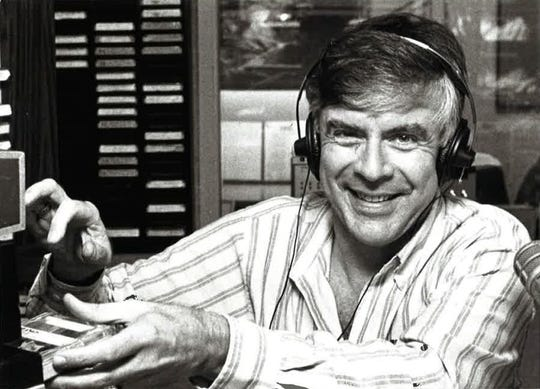 Radio host Jon Anderson at work in 1989.