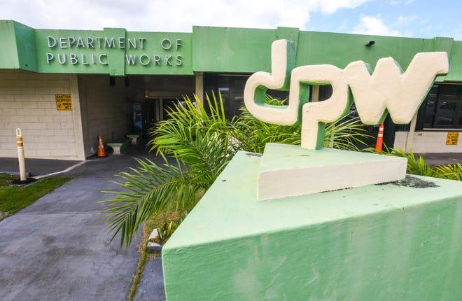 Signage at the entrance of the Department of Public Works in Tamuning as seen on Friday, Feb. 1, 2019.