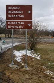"""""""Trailblazing"""" signs now point toward downtown Henderson and the Riverwalk as travelers exit U.S. 41 at Zion Road/Second Street."""