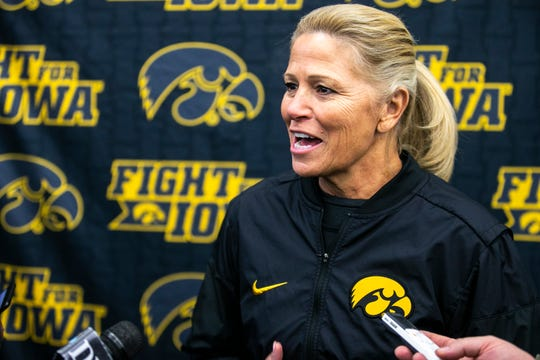 Iowa softball head coach Renee Gillispie speaks with reporters during Hawkeyes softball media day, Friday, Feb. 1, 2019, at the Hawkeye Tennis and Recreation Complex Iowa Turf in Iowa City, Iowa.