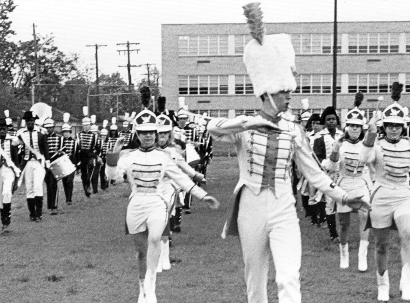 George Washington High School band during practice in 1967.