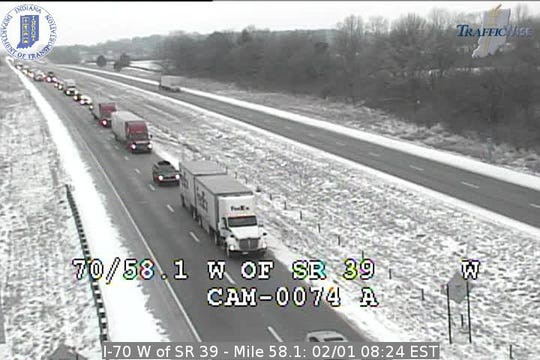 Eastbound I-70 in Hendricks County near Monrovia is slow after a fatal crash involving an INDOT salt truck.