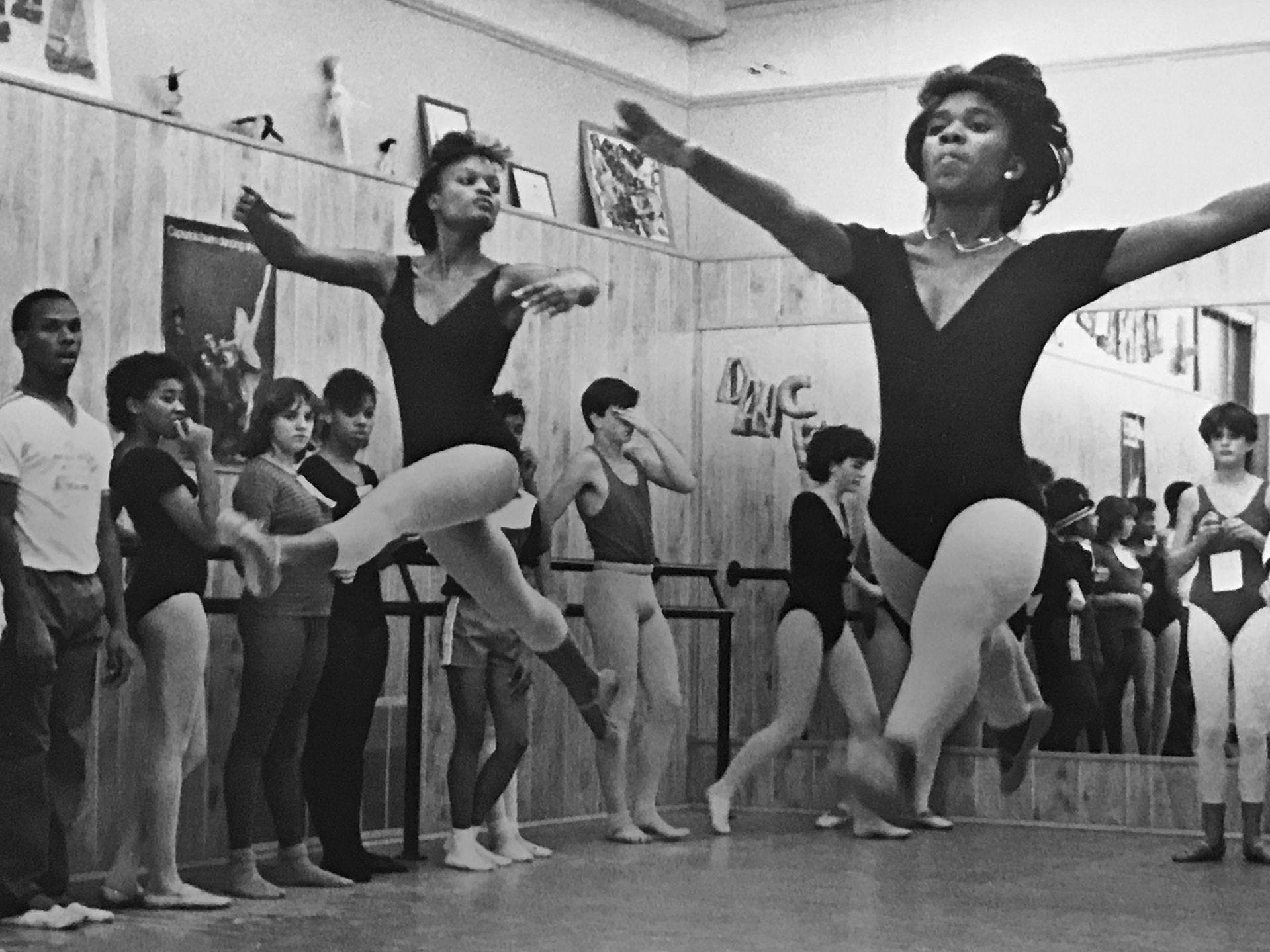 Broad Ripple Performing Arts faculty member Laura Hedges (far right, white shirt) oversees dance class in 1985.