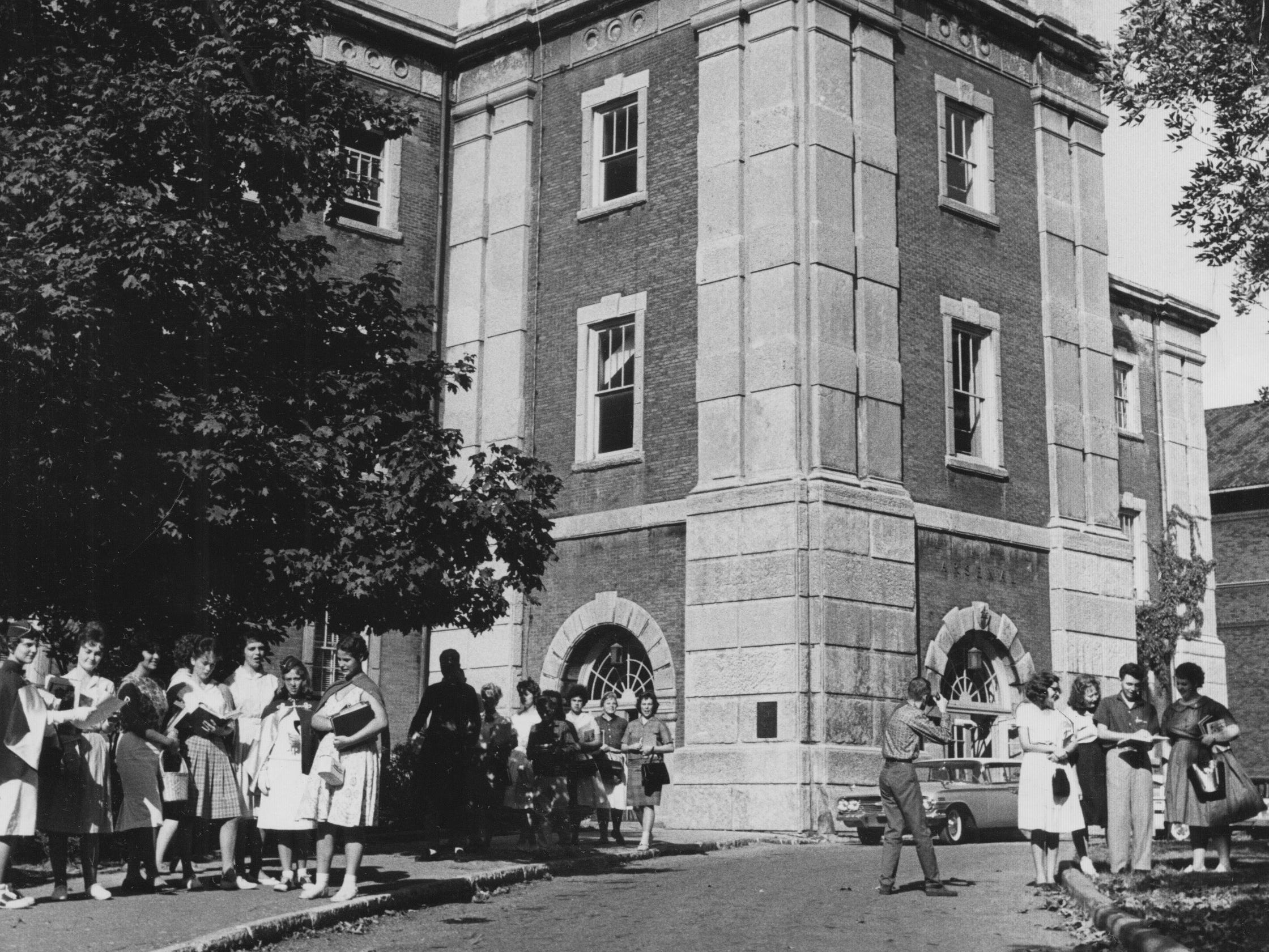 Arsenal Tech students gather in front of the school in 1961.