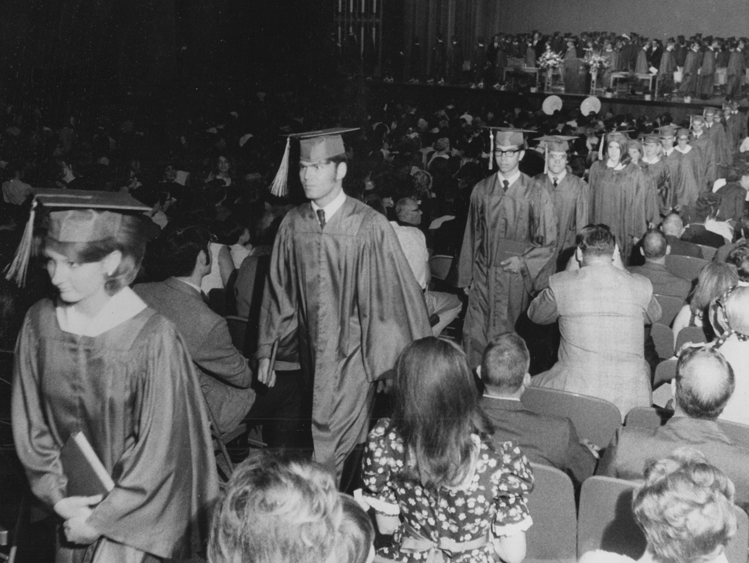 241 seniors of the first graduation class from John Marshall High School in 1969.