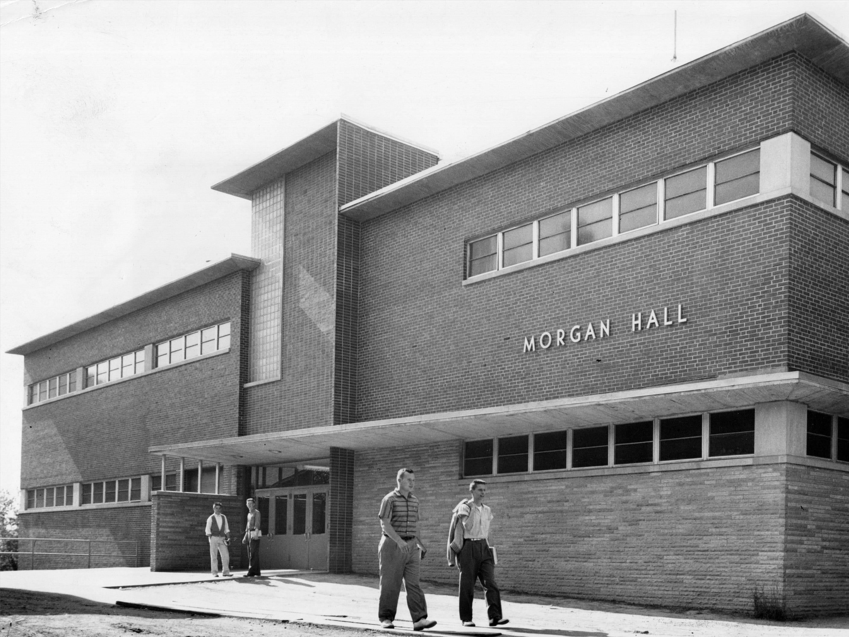 Morgan Hall, named after the late DeWitt Morgan, one-time principal of Arsenal Tech high school and later superintendent of Indianapolis public schools. The building, finished in 1958 was the latest addition to the campus.