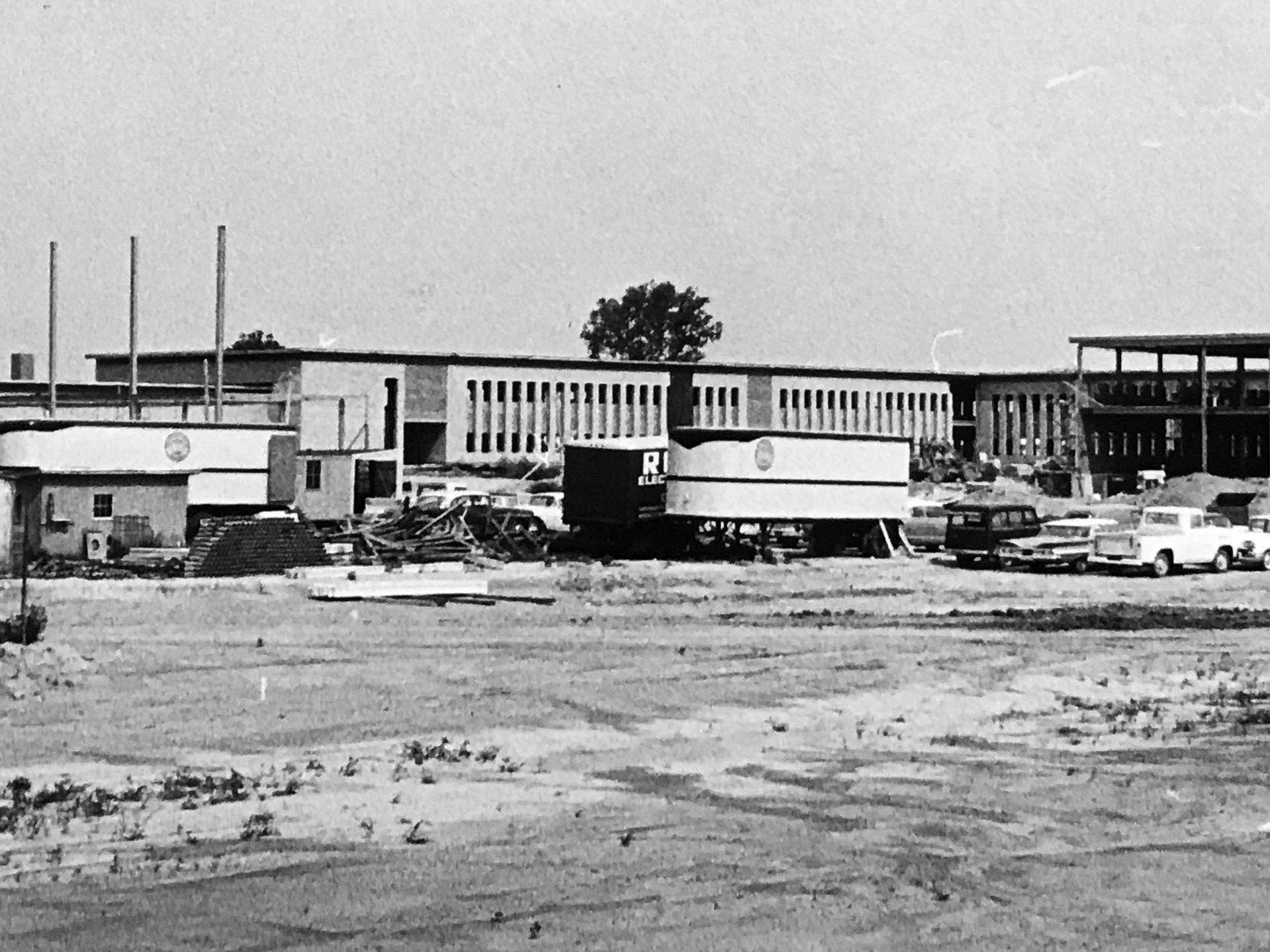 Northwest High School under construction at 34th and Moeller Rd. in 1962