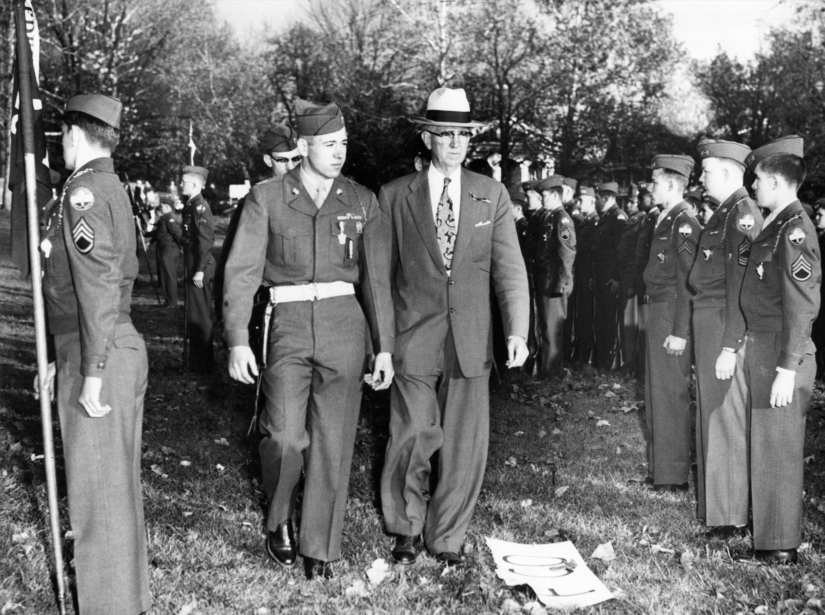 ROTC review at Arsenal Tech High School by Harold Vaughn, Cadet Colonel and Hanson Anderson, Tech Principal who reviewed the troops in 1953.
