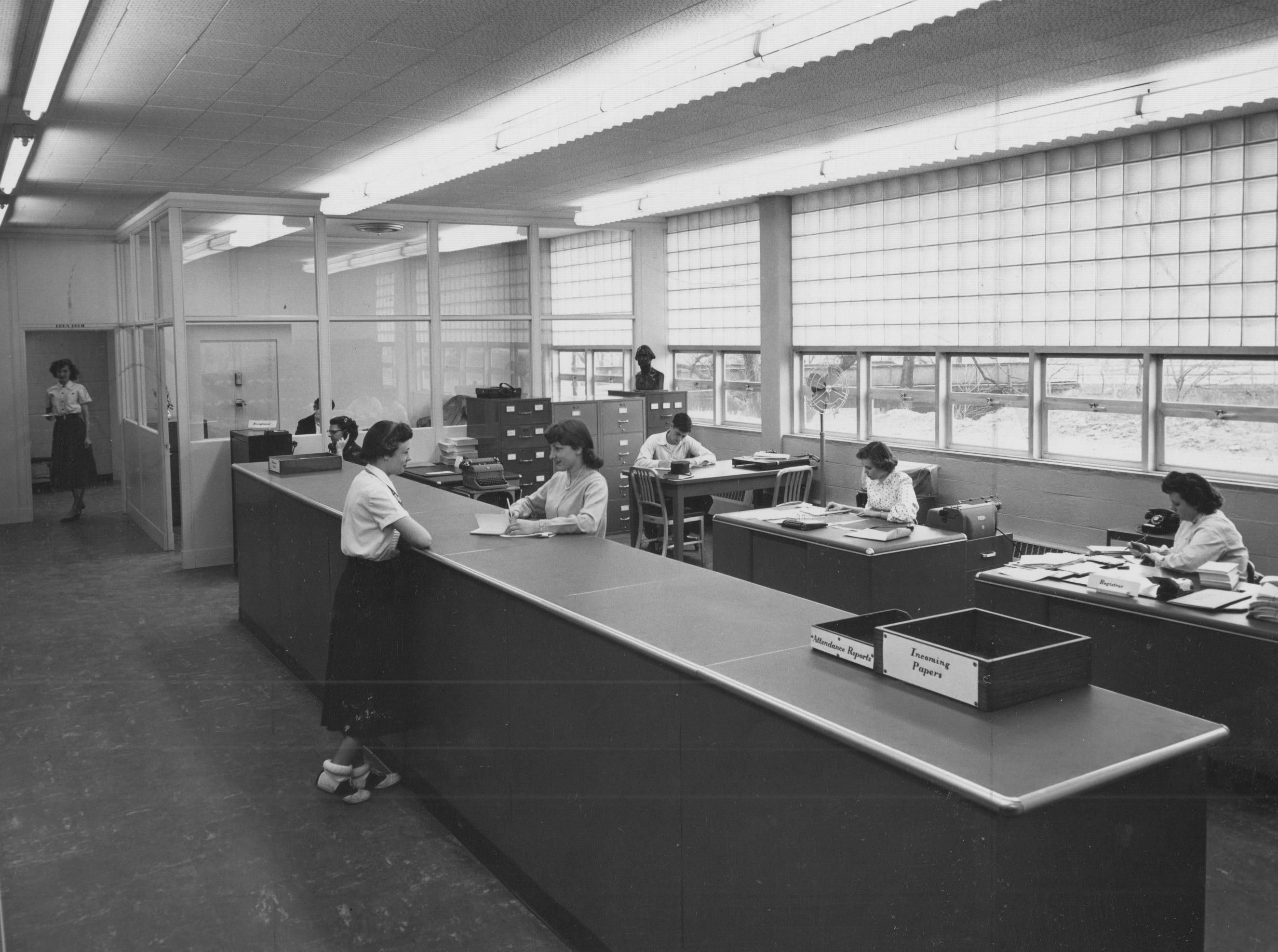 The main office at the newly constructed Emmerich Manual High School in 1953.