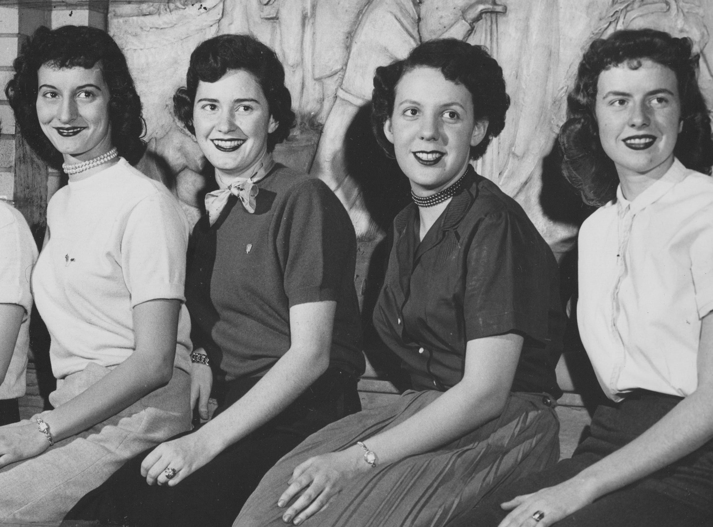 (l to r) Rosemary Reinbold, Marilyn Reynolds, Ruthann Crippen, Norma Inabnit and Gloria Alycoff, all finalists for the senior show whirl dance at Washington High School in 1954.
