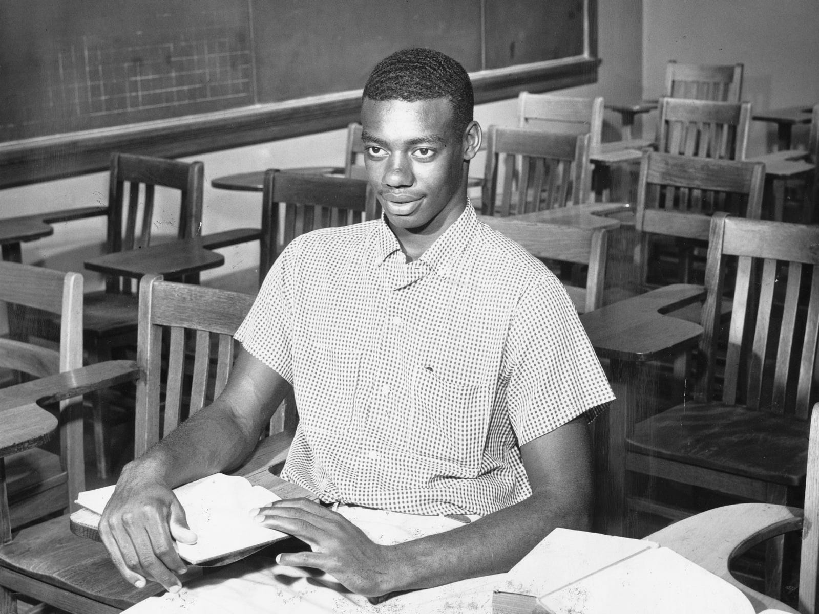 An outstanding career in the National Basketball Association was in the future of Indianapolis' Oscar Robertson, shown in a classroom at Crispus Attucks High School, on Aug. 13, 1958.