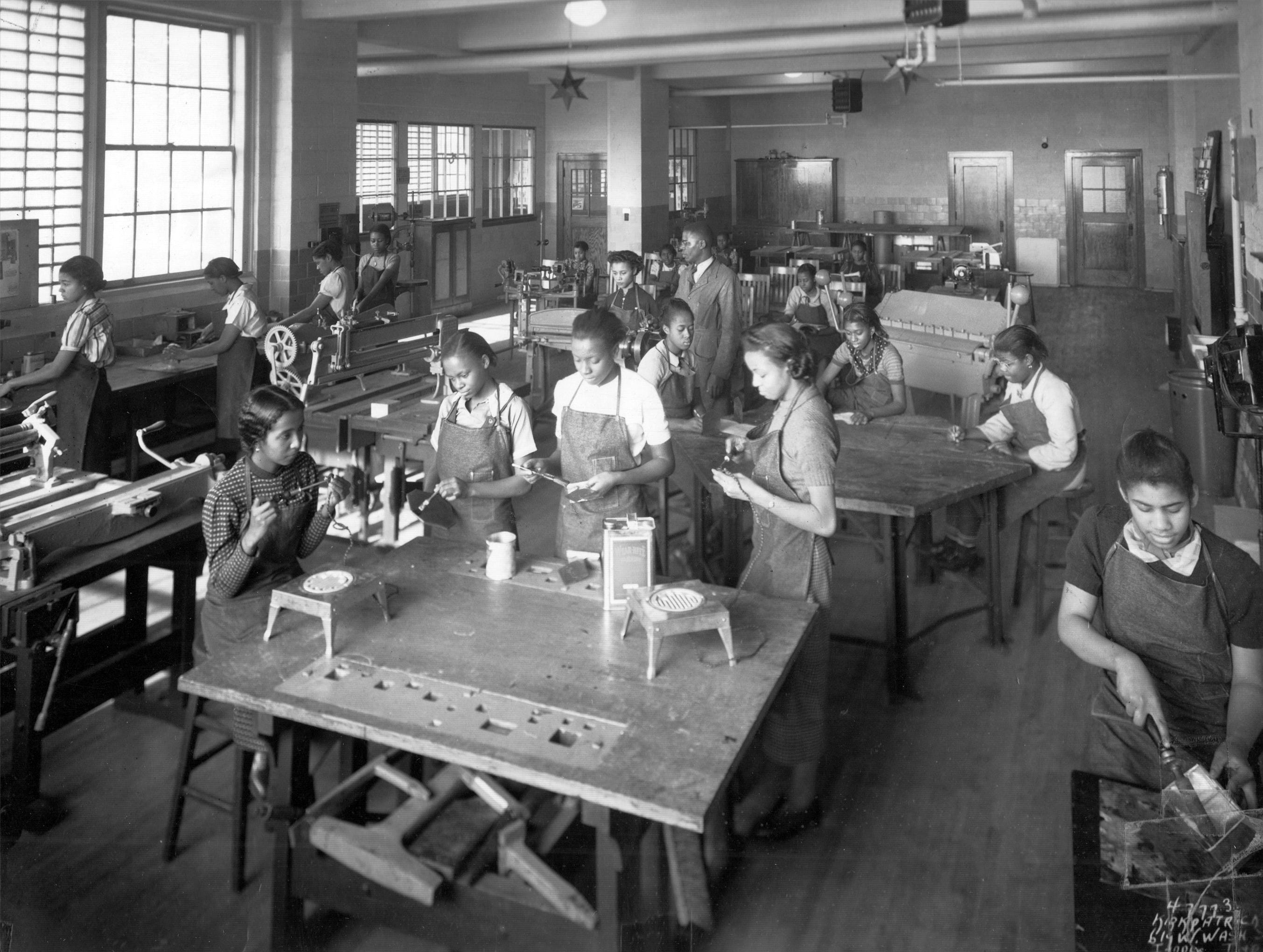 Girls in a shop class at Crispus Attucks High School - date unknown