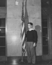 Richard Lugar, a senior at Shortridge High School, one of the speakers at the Young Republican Rally in the Claypool Hotel, Dec. 5, 1949.