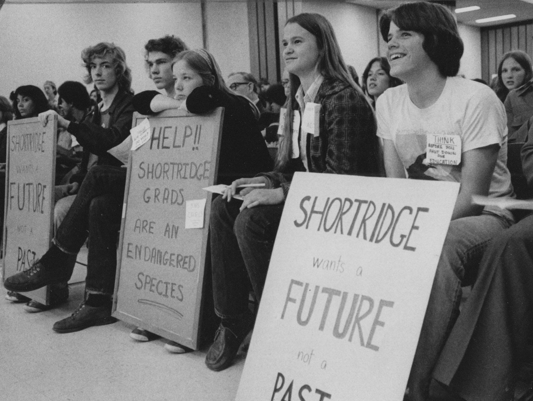 A crowd of Shortridge students urge the school board to keep the high school open in 1977. The board considered closing the school as part of deseregation.